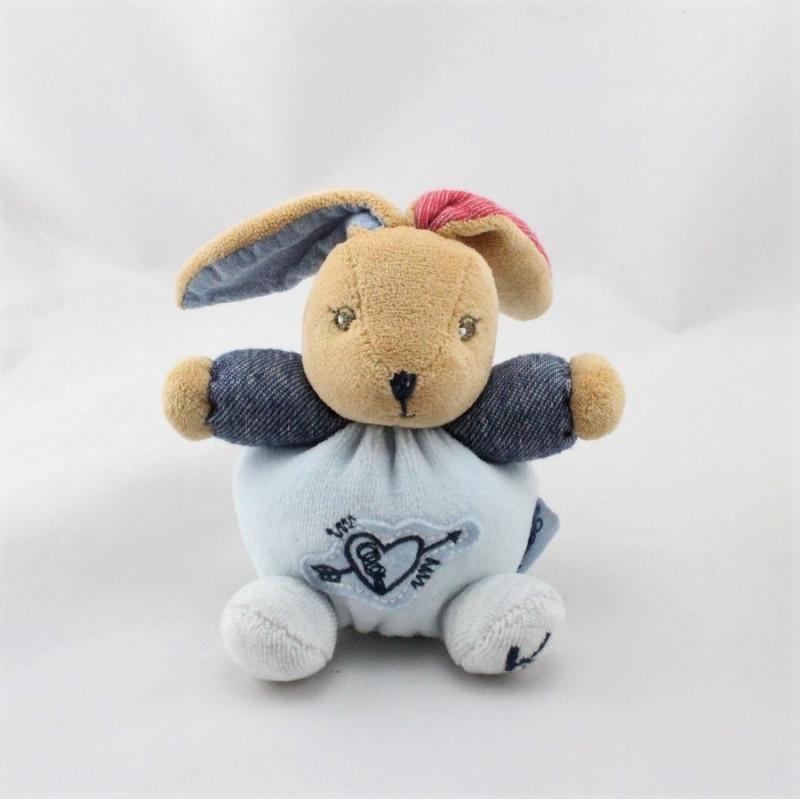 Mini Doudou lapin bleu jean rouge Denim KALOO