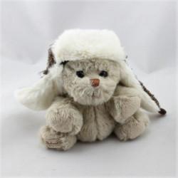 Peluche ours beige bonnet aviateur BUKOWSKI  16 cm