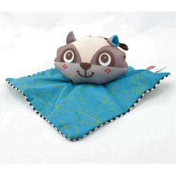 Doudou eveil raton laveur bleu rayé noir Tiny love