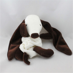 Doudou plat chien marron blanc SUCRE D'ORGE
