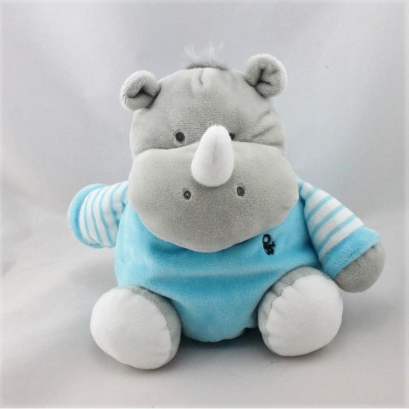 Doudou hippopotame gris bleu blanc rayé OBAIBI