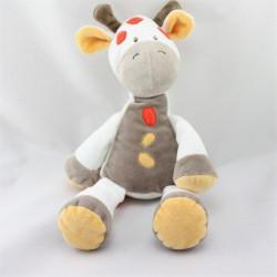 Doudou girafe vache blanc beige jaune orange DOUKIDOU