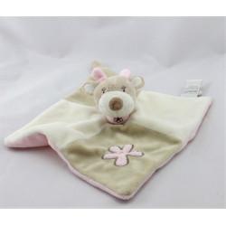 Doudou plat girafe beige rose blanc fleur BEBE9