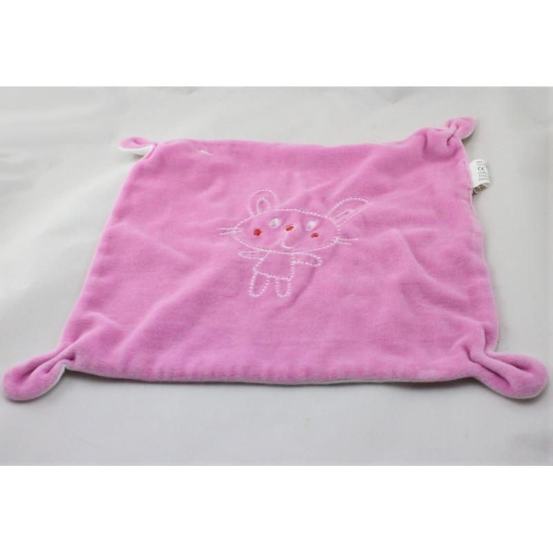 Doudou plat carré lapin rose CORA