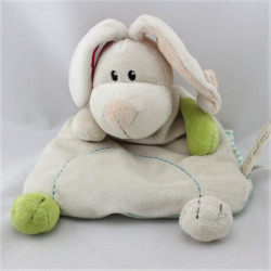 Doudou semi plat chien lapin blanc vert rouge MY FIRST NICI