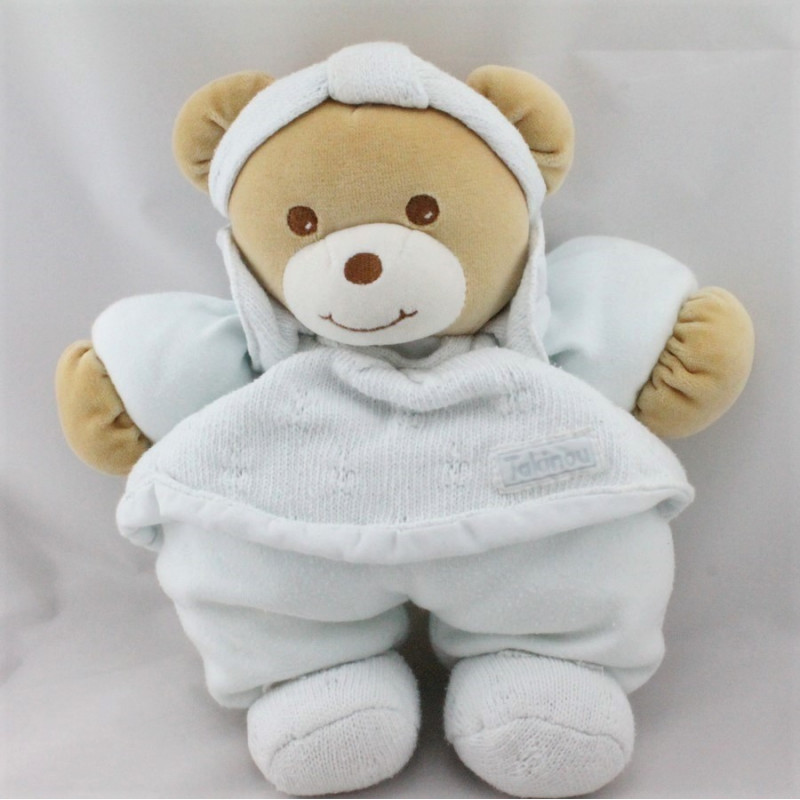 Doudou ours bleu laine bandeau TAKINOU