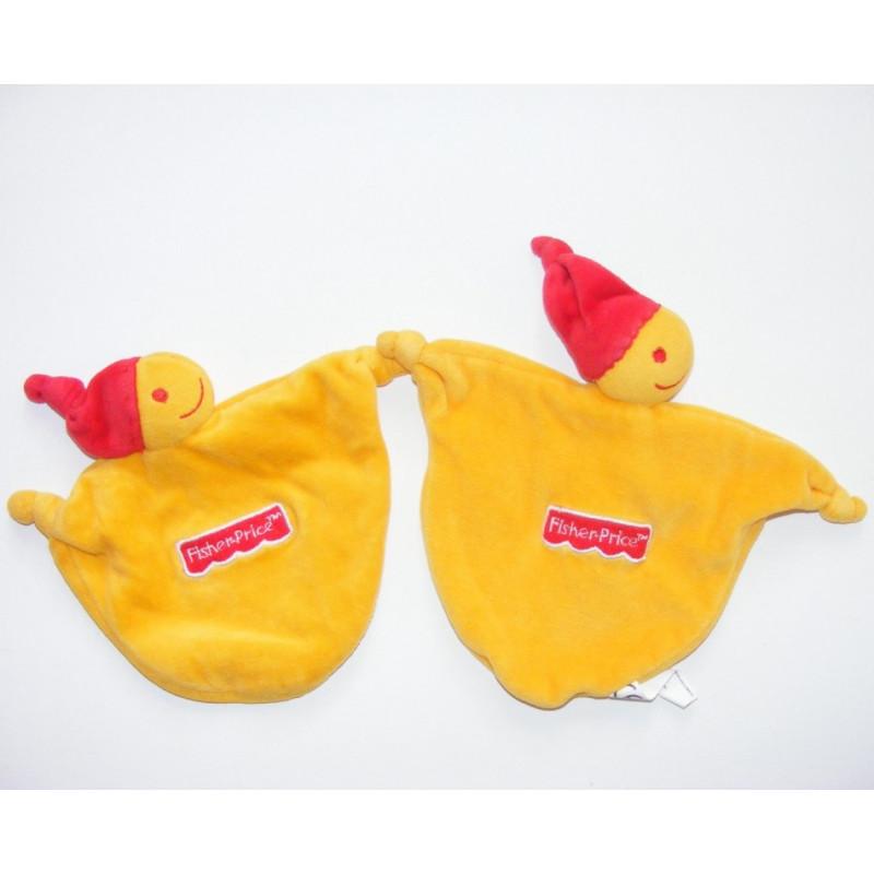 Doudou plat lutin jaune bonnet rouge FISHER PRICE