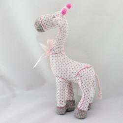 Doudou girafe rose gris pois TAPE A L'OEIL