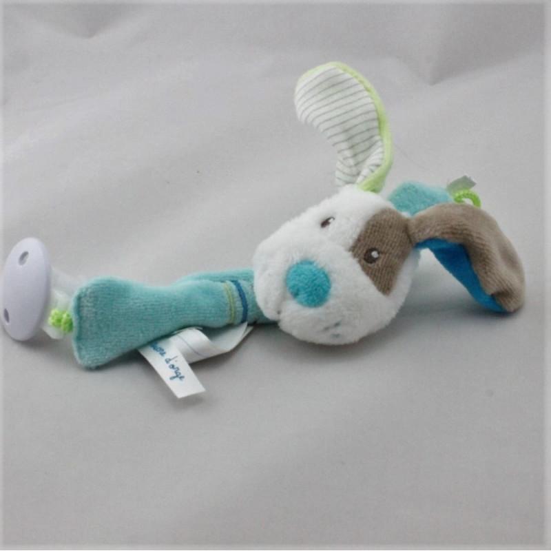 Doudou attache tétine chien bleu blanc beige vert SUCRE D'ORGE
