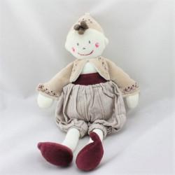Doudou poupée lutin beige rouge blanc Babouche BERLINGOT