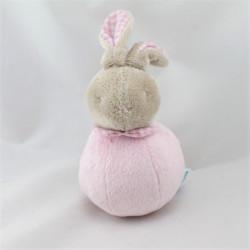 Doudou hochet quille Lapin beige rose KLORANE