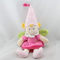 Doudou fille lutin fée rose vert bonnet pointu NICOTOY
