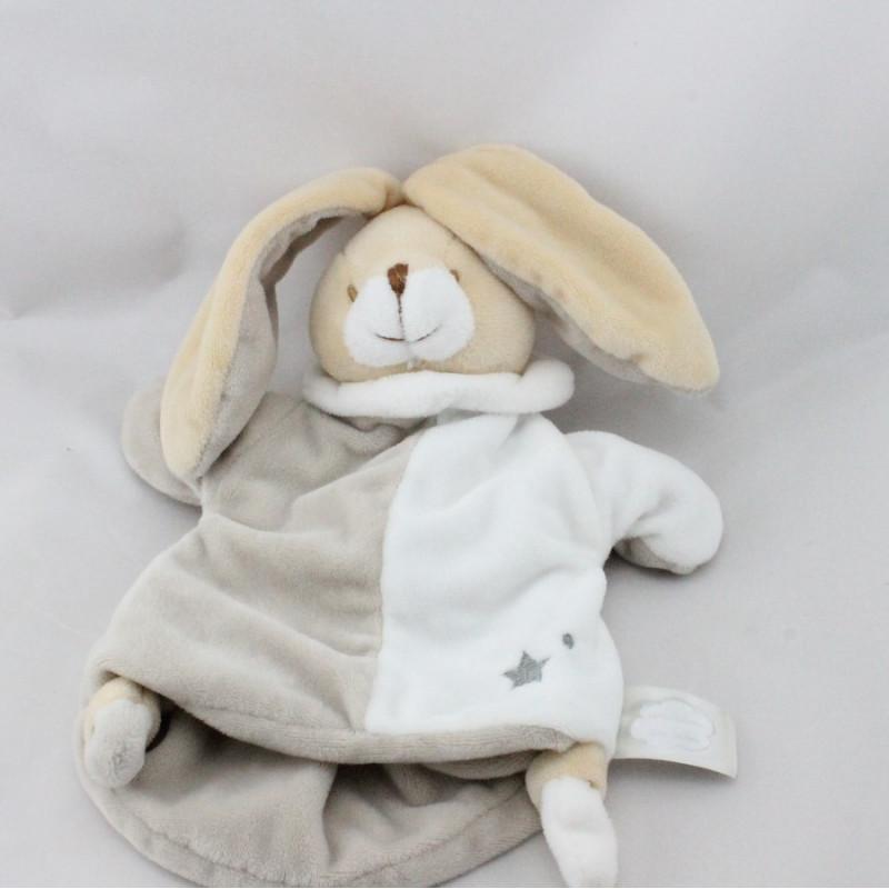 Doudou marionnette lapin blanc beige gris étoile UN REVE DE BEBE