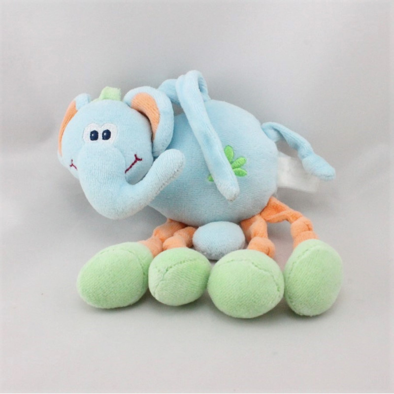 Doudou musical éléphant bleu orange vert NATTOU JOLLYMEX