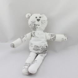 Doudou chat blanc imprimé gris jouets BOUT'CHOU BOUTCHOU