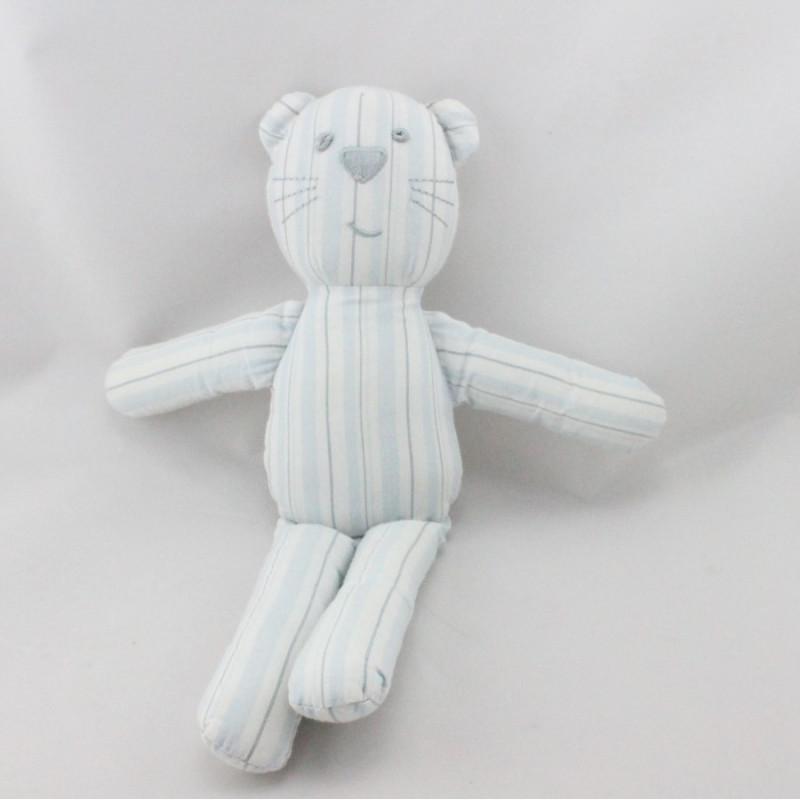 Doudou chat bleu blanc rayé BOUT'CHOU BOUTCHOU