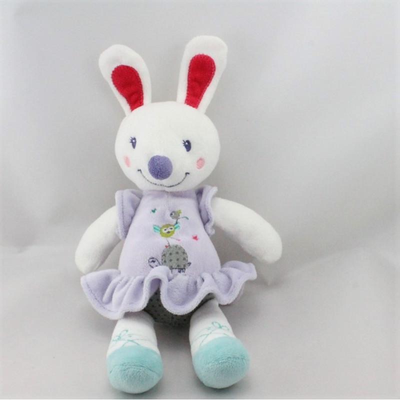 Doudou lapin blanc mauve bleu oiseau NICOTOY
