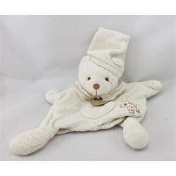 Doudou et compagnie bio marionnette lapin blanc fleur