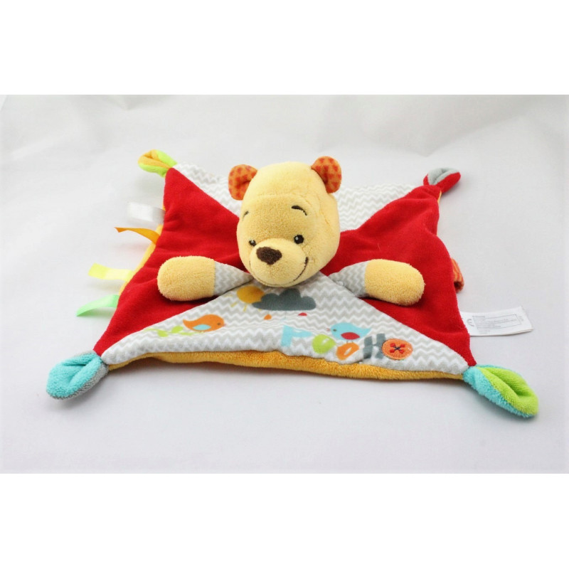 Doudou plat carré winnie l'ourson rouge orange gris oiseau DISNEY NICOTOY