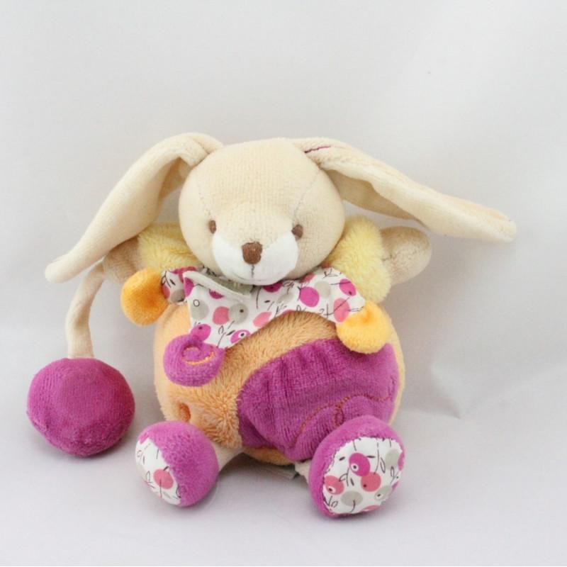 Doudou et compagnie lapin beige orange rose cerise