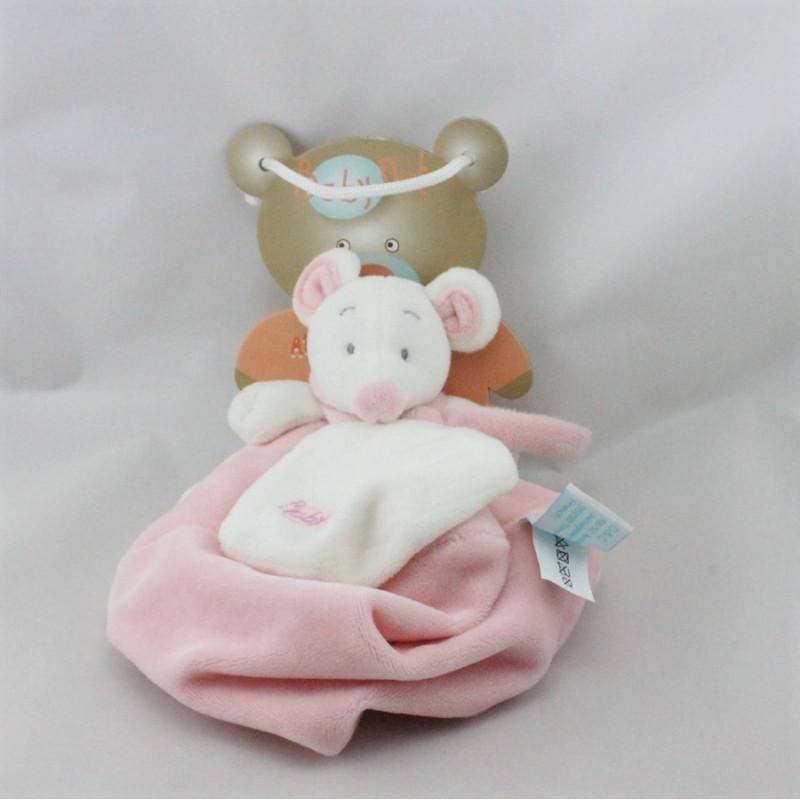 Doudou plat souris rose blanc Douceur BABY NAT