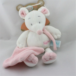 Doudou souris rose blanc mouchoir Douceur BABY NAT