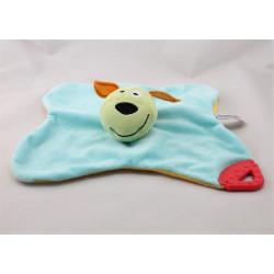 Doudou plat chien bleu vert jaune dentition PRENATAL