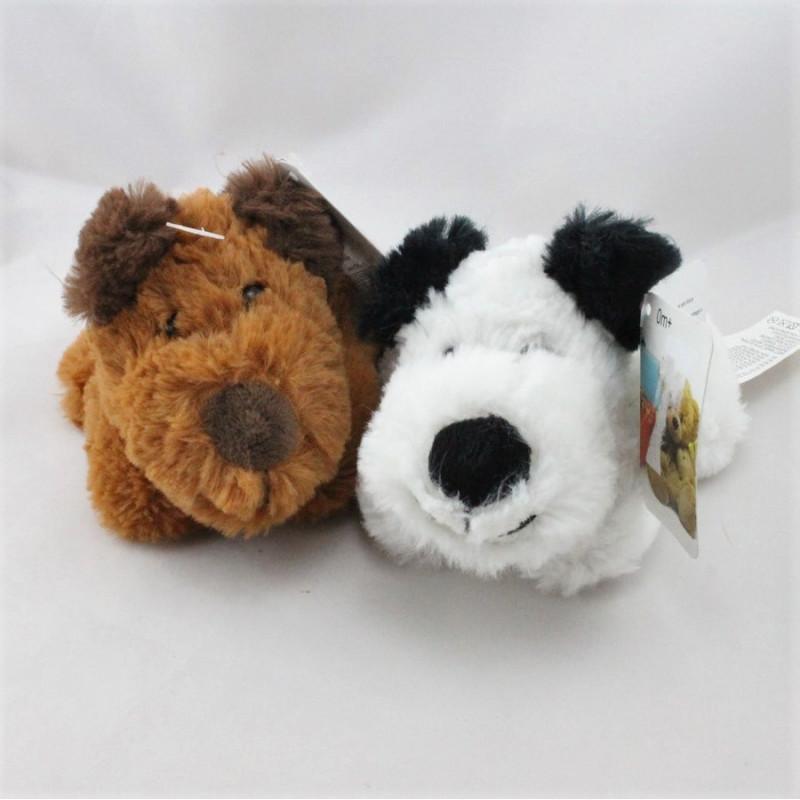 Doudou peluche chien marron et chien noir blanc AUCHAN