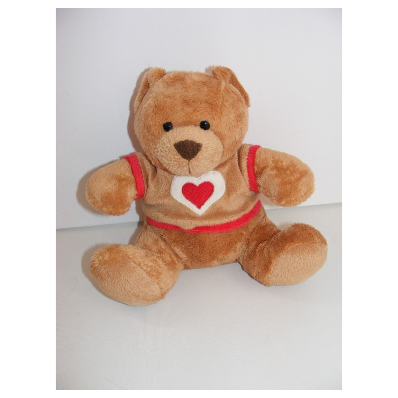 Doudou ours beige pull coeur rouge NICOTOY