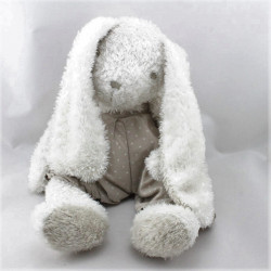 Doudou lapin blanc beige étoiles CYRILLUS