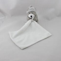 Doudou ours gris mouchoir blanc CMI CARREFOUR