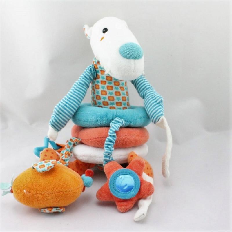 Doudou eveil anneaux chien loup blanc bleu orange ORCHESTRA PREMAMAN