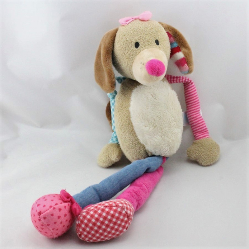 Doudou chien beige bleu rose LIEF