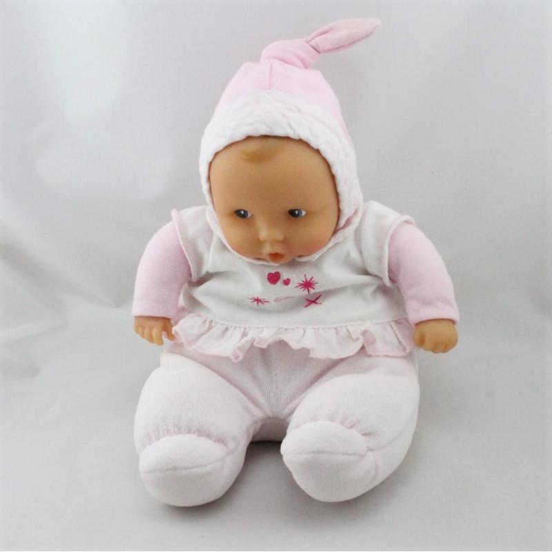 Doudou bébé poupée Baby Pouce rose blanc COROLLE 2010
