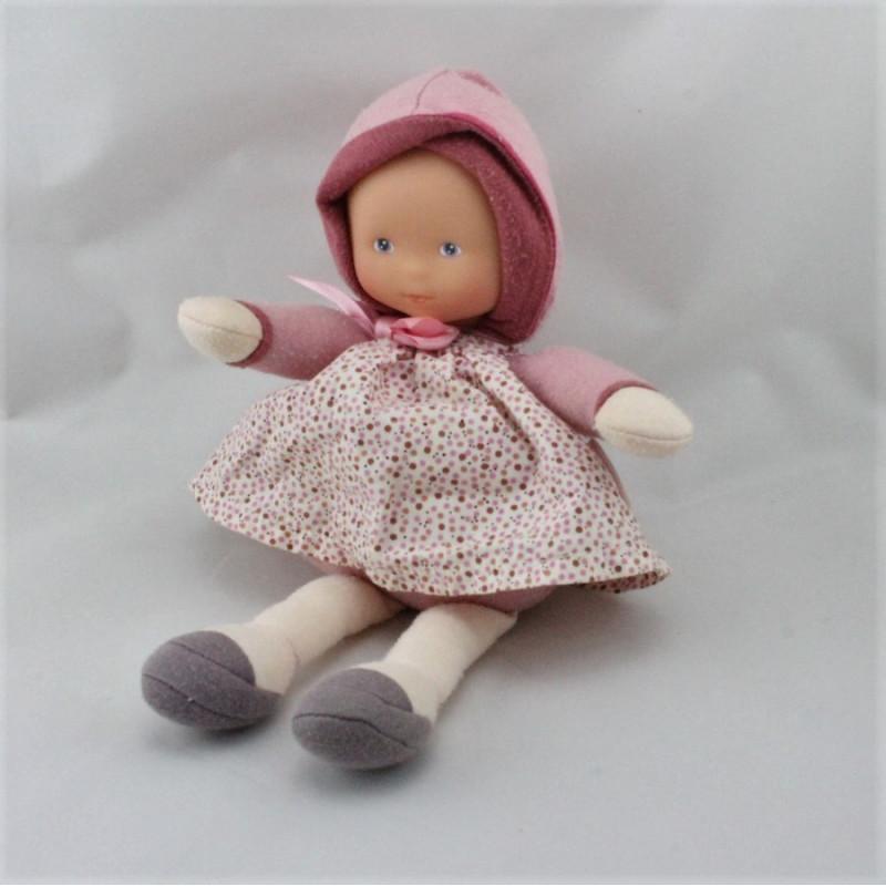 Doudou Poupée bébé rose pois Mademoiselle cassis Corolle