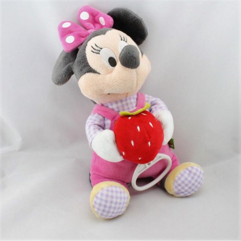 Peluche musical Minnie rose mauve avec fraise DISNEY NICOTOY