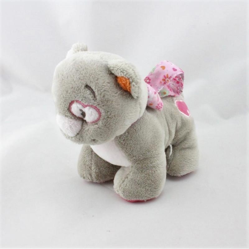 Doudou chat gris rose fleurs coeur Iris NOUKIE'S