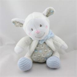 Doudou mouton blanc beige bleu laine NICOTOY
