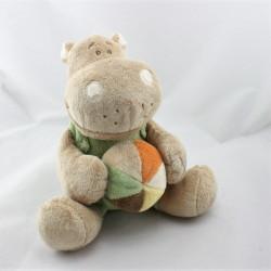 Doudou musical hippopotame beige vert ballon Hippoum NOUKIE'S