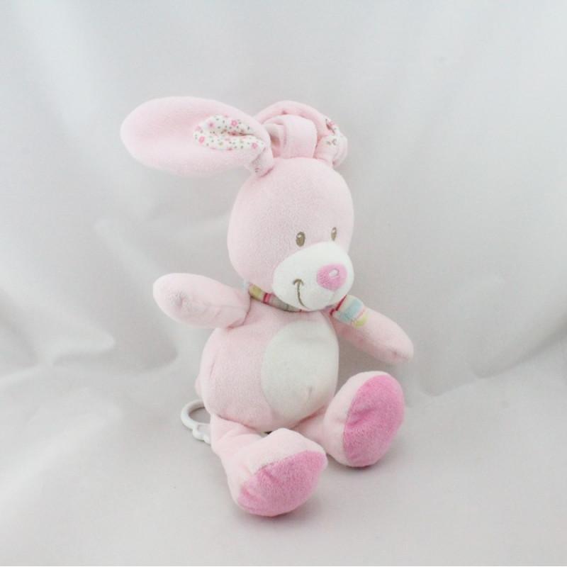 Doudou musical lapin rose écharpe rayé NICOTOY