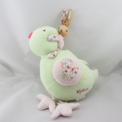 Doudou musical lapin sur oiseau vert rose Liberty KALOO