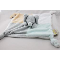 Doudou plat éléphant Babar gris blanc bleu jaune
