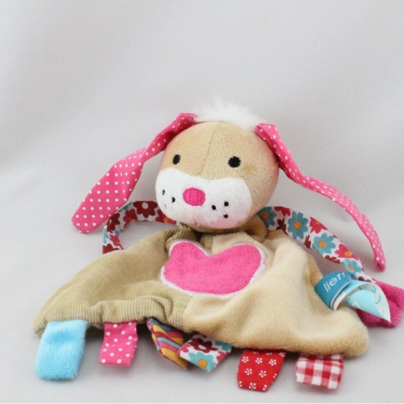 Doudou plat chien lapin beige rose bleu coeur fleurs LIEF