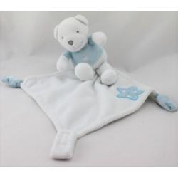 Doudou plat mouchoir ours blanc bleu étoile PREMAMAN