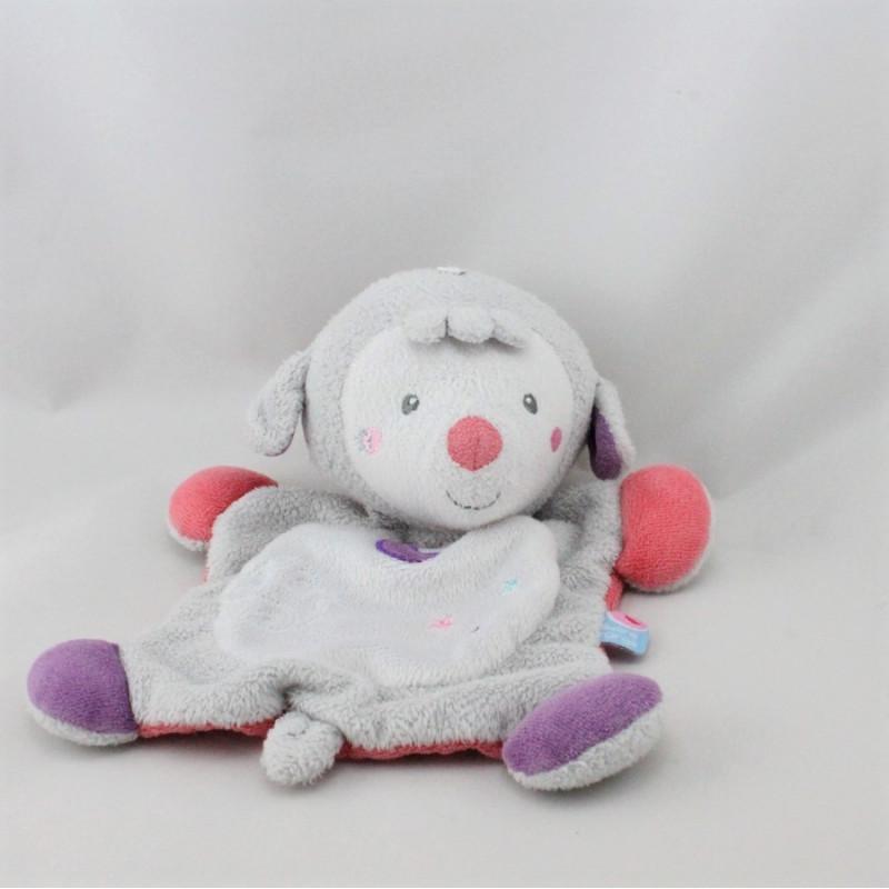 Doudou plat mouton gris blanc rose violet lune SUCRE D'ORGE