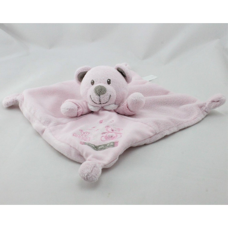 Doudou plat ours rose Baby Garden NICOTOY