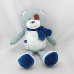 Doudou ours bleu blanc écharpe HISTOIRE D'OURS