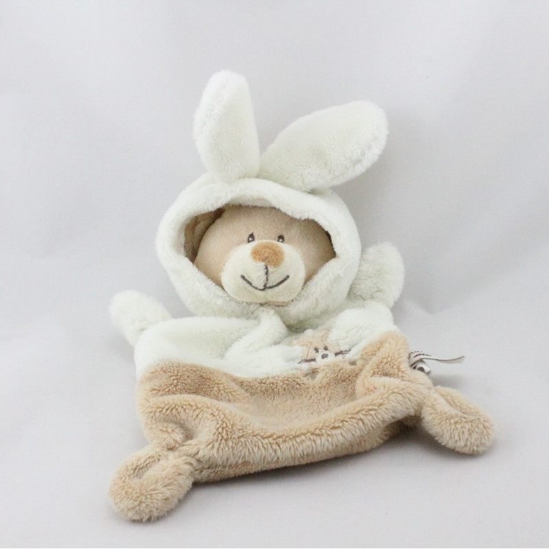 Doudou plat ours déguisé en lapin beige blanc GRAIN DE BLE