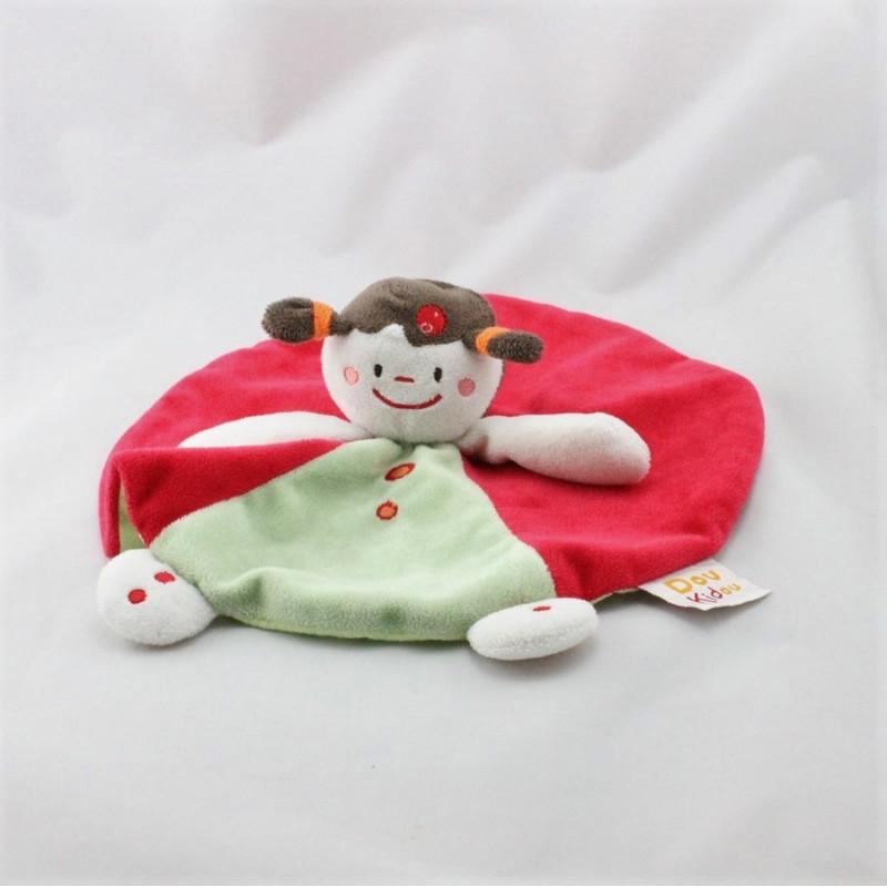 Doudou plat rond poupée fille rouge vert DOUKIDOU