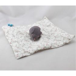 Doudou plat ours blanc violet fleurs LES BEBES D'ELYSEA